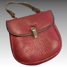 Red Leather Antique Doll Purse.