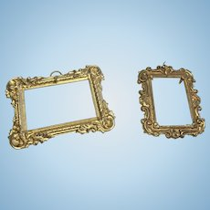 2 Miniature Ormolu Metal Picture Photo Antique Frame for Dollhouse Doll
