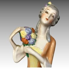 Beautiful German Half Doll with Bouquet Antique Pin Cushion