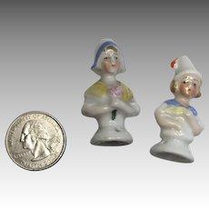 2 Miniature Doll Size Half Doll Antique Pin Cushion