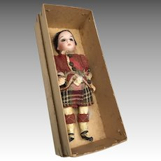 German Bisque Head Closed Mouth Doll Original Clothes Box