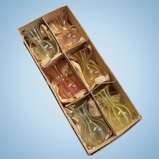 Antique Blown Glass Miniature Dollhouse Doll Vase Set in Original Box German