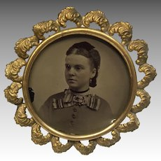 Antique Ornate Miniature Metal Picture Frame Lady Photo Doll Size