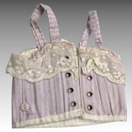 French Tagged Paris Corset Purple Striped Antique Bisque Bebe Fashion Doll FF