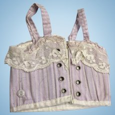 Purple Striped French Tagged Paris Corset for Antique Bisque Bebe Fashion Doll