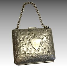Antique German Silver Metal Doll Purse