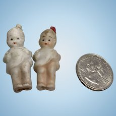2 Tiny German All Bisque Antique Doll