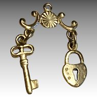 Tiny Doll Chatelaine Lock and Key Miniature Metal Accessory