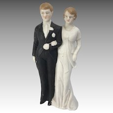 All Bisque Bride Groom Large Wedding Cake Topper Doll Figure