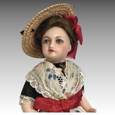 French Bisque All Factory Original Clothes Straw Hat Glass Eye Antique Doll Unis France 301