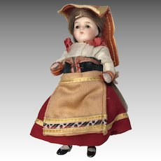 "3.5"" Factory Original All Bisque Glass Eye German Dollhouse Doll Kling Mignonette"