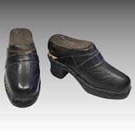 Antique French Clogs Leather Wood Doll Shoes Original Cobbler Wood Shoe Forms Lasts