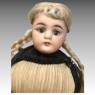 Simon Halbig Closed Mouth All Original Clothes Shoes Antique German Bisque Head Doll Pierced Ears