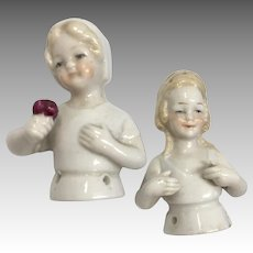 Cute German Half Doll Young Smiling Girl Pair Antique Pin Cushion