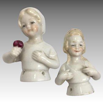 Cute German Half Doll Young Smiling Girl Pair Antique Pin Cushion