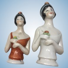 2 Deco German Flapper Antique Half Doll Pin Cushion