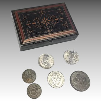 Miniature German Doll Metal Strong Box with Tiny Faux Coin Money