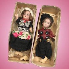 2 German Bisque Antique Doll Factory Original Clothes in Box