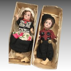 2 German Bisque Antique Doll Factory Original Clothes in Box