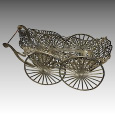 Antique Soft Metal Ornate Miniature Dollhouse Doll Carriage
