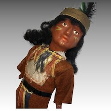 German Antique Native American Indian Doll All Original