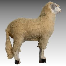 Flocked Stick Leg Antique Sheep Miniature Dollhouse Doll