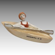 German Bathing Beauty Antique Porcelain Glazed Bisque Doll in Boat