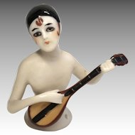 Rare Deco German Half Doll Playing Mandolin Antique Pin Cushion