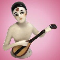 Rare Deco German Half Doll Playing Mandolin Antique Pin Cushion