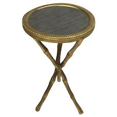 Antique Miniature Metal Gilt Ormolu Round Side Table Faux Bamboo Legs