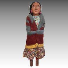 Vintage Skookum Woman Native American Indian Doll Original Label Wood Feet