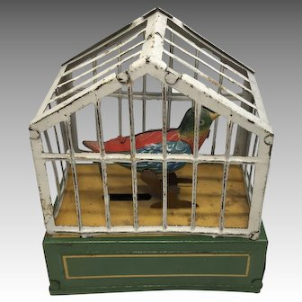 German Miniature Tin Bird in Soft Metal Wind Up Birdcage for Antique Dollhouse Doll