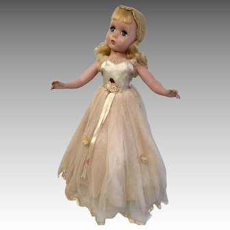"17"" Madame Alexander Maggie Hard Plastic Doll All Original Gown"