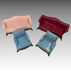 4 Vintage Renwal Dollhouse Doll Hard Plastic c1950s Sofa Chair
