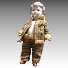 German All Bisque Boy Doll Dollhouse Size