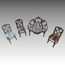 Antique Miniature Metal Dollhouse Doll Ornate Settee & 3 Tootsietoy Chair