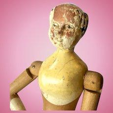 "15"" Wood Jointed Joel Ellis Rare Antique Doll"