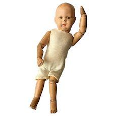 "Rare Petite 11"" Smallest Schoenhut Wood Jointed Doll Pouty Boy"