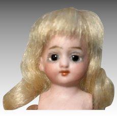 Antique German All Bisque Glass Eye Half Doll Origianl Wig Kestner