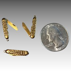 3 Tiny Dollhouse or Doll Miniature Pocket Knife Pendant Chatelaine