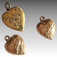 3 Antique Heart Charm Doll Pendant Forget Me Not