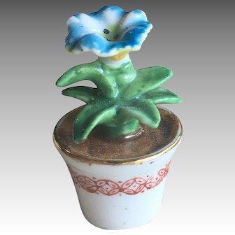 Miniature Porcelain Flower in Pot for Antique Dollhouse or Doll