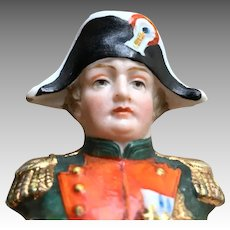 Antique Bisque French Napoleon Military Man Miniature Bust Half Doll Head