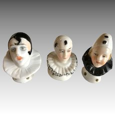 3 Clown Pierrot Antique Half Doll Pin Cushion Powder Puff Top
