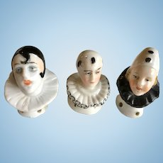 3 Clown Pierrot Antique Half Doll Pin Cushion Powder Puff Top