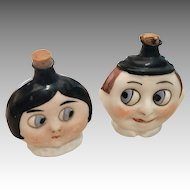 2 Antique Glass Googly Eye Doll Perfume Bottle German Pair