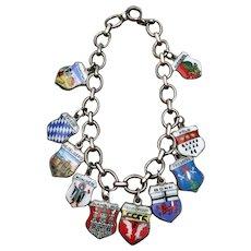 Silver Enamel German Charm Bracelet 800 Continental Silver or Antique Doll Necklace