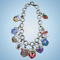 Antique Silver Enamel German Charm Bracelet Doll Necklace