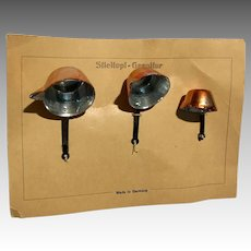 Antique German Dollhouse Miniature Kitchen Copper Pot Set in Card