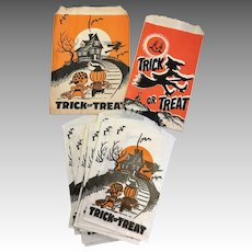 15 Vintage Halloween Paper Candy Container Bag Pumpkin Witch